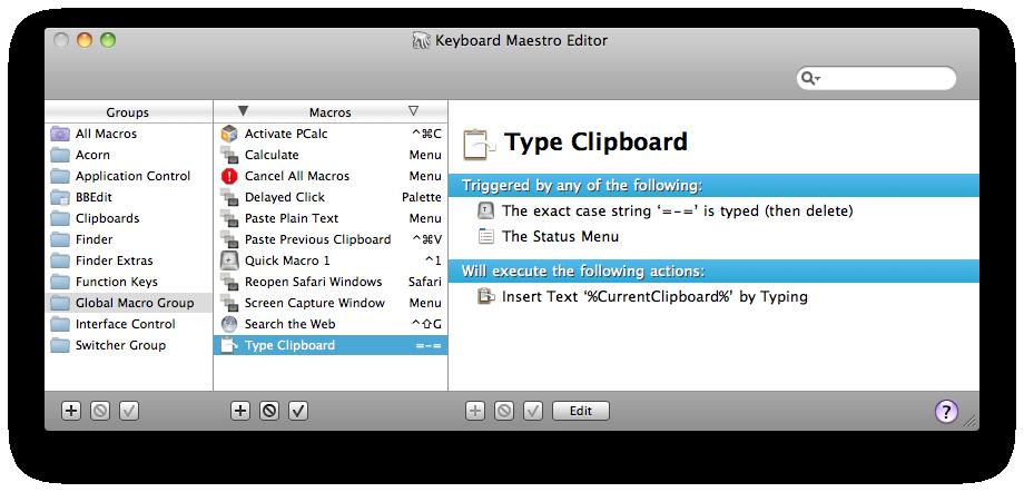 Keyboard Maestro 5 Documentation: Macro Groups
